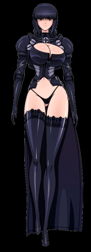 1girl akiranime animated animated_gif bangs black_eyes black_hair black_legwear black_panties bob_cut bolt bouncing_breasts breasts cleavage cleavage_cutout cross female gloves gluteal_fold high_heels hips lace lace-trimmed_thighhighs large_breasts legs l