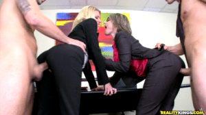 Felicity Von with her blonde friend fucked during a lunch break