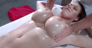 Gorgeous oiled Peta Jensen having a great massage