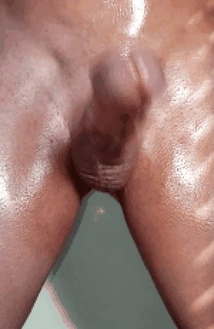 Sweaty amateur swings and cums shaved cock hands free